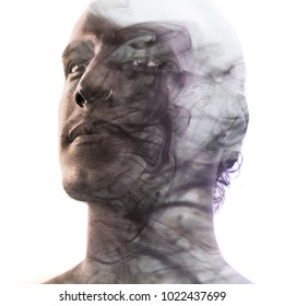 Unique conceptual work bringing together the unpredictable nature of smoke with the firm gaze of a young attractive man with flawless sunkissed skin
