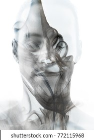 Unique conceptual work bringing together the unpredictable nature of smoke with the peaceful stillness of his state of mind