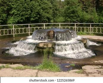 unique fountain in sanatorium forest