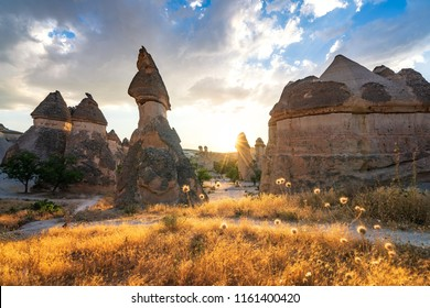 Unique geological features of the Cappadocia fairy chimney in Turkey at sunset