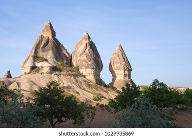 Unique geological formations in Cappadocia, Turkey. Cappadocian Region with its valley, canyon, hills located between the volcanic mountains Erciyes, Melendiz and Hasan.