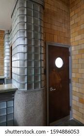 Unique Glass Wall Bar and Wooden Door