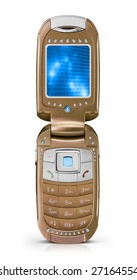A unique gold luxury mobile phone with clipping paths and screen. You can easily change the picture on the screen.