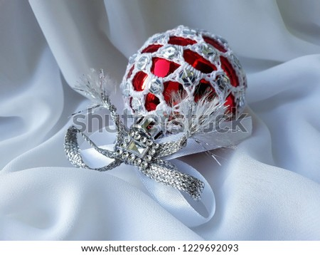 Unique Handmade Crocheted Christmas Tree Decoration On White Background