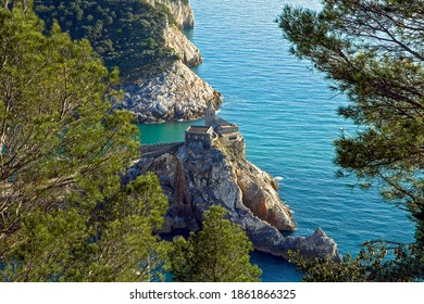 Unique high angle view of famous Portovonere church on the top of Byron cliff against tree branch and clear blue sea, La Spezia, Liguria, Italy