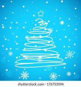 Unique image of Merry Christmas on a blue background