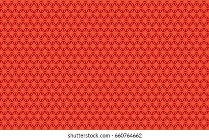 A unique, intense, repeating floral pattern made of lines. The flowers are light orange  on a rust colored background. The look is lively and organic.