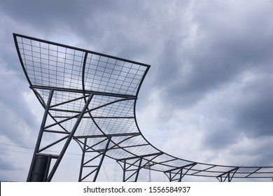 unique iron curved lines under the sky with copy space