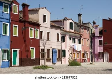 Unique Italian city of Venice. Island Burano