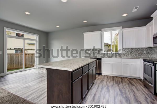 Unique Kitchen Gray Hardwood Floor Well Stock Photo Edit Now 301902788