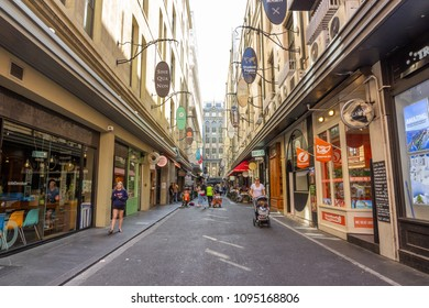 The unique laneways of Melbourne and arcades of Melbourne central business , a popular tourist attraction in the city, Melbourne:09/04/2018