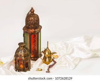 "unique lantern with ""dallah"" Arabian coffee"
