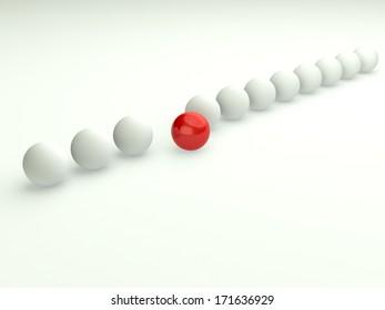 Unique in line concept. 3d business illustration.