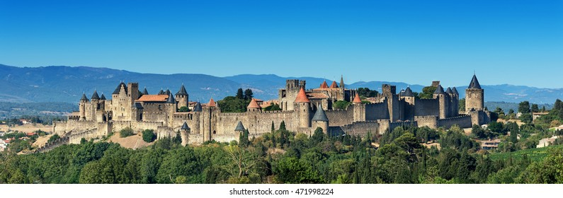 The unique medieval Carcassonne fortress( Aude, France), inscribed on the UNESCO list of World Heritage Sites.