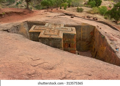 Unique monolithic rock-hewn Church of St. George (Bete Giyorgis), UNESCO World heritage, Lalibela, Ethiopia.