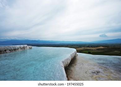 Unique nature landscapes: white travertine pools and terraces, Pamukkale, Turkey, unesco world heritage site