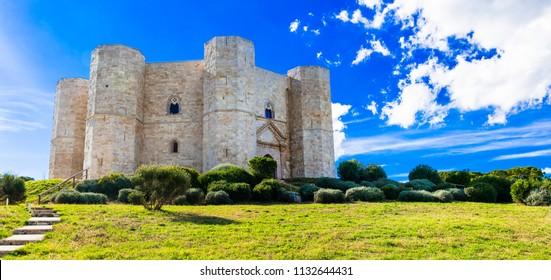 Unique octagonal castle  Castel del Monte - UNESCO World Heritage site, Puglia, Italy