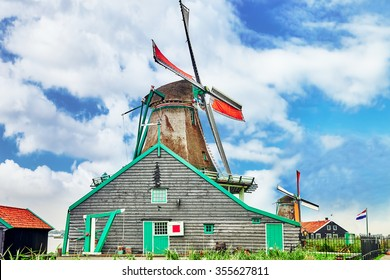 Unique old, authentic, real working windmills in the suburbs of Amsterdam, the Netherlands.