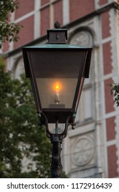 Unique old fashioned street light.