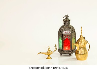 Unique old lantern with Arabic coffee