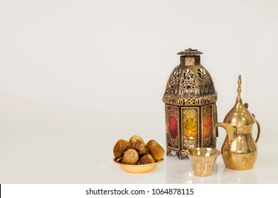 "Unique old lantern with Arabic coffee and ""tamer food"""