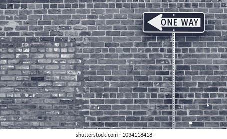 Unique one-way traffic sign in vintage black and white