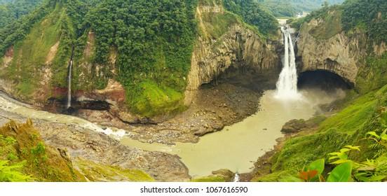 Unique Panoramic View San Rafael Waterfall In Ecuador