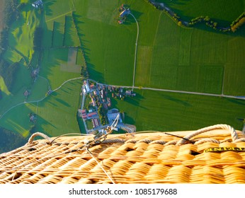 Unique perspective. Hot air balloon view from above. Germany from above.