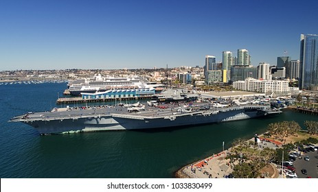 A unique perspective of the USS Midway aircraft carrier in downtown San Diego California