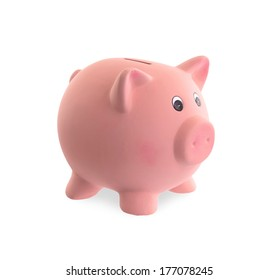 Unique pink ceramic piggy bank isolated on white
