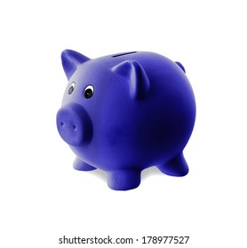 Unique pink ceramic piggy bank isolated, blue