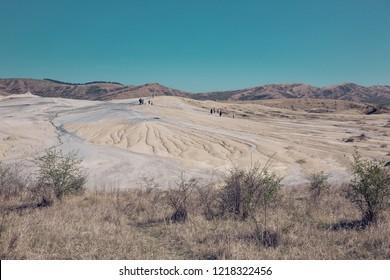 Unique, rare,  active mud volcanos landscape