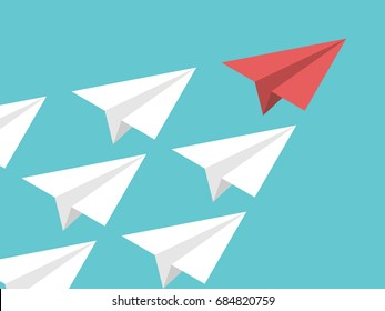 Unique red isometric paper plane and many white ones on turquoise blue sky. Leadership, teamwork and courage concept. Flat design