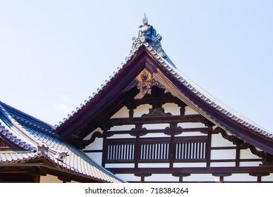 Unique roofs of Nijo castle kyoto japan
