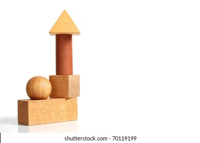 Unique Set of Building Blocks Forming a House-Like Structure on White with Room for Text