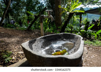 a unique sink from stone at Situ gunung suspension bridge in gede pangrango mount national park