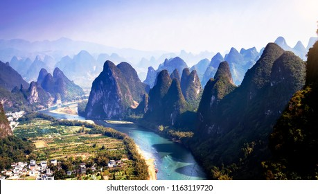 Unique and spectacular karst landforms in yangshuo, guilin, China