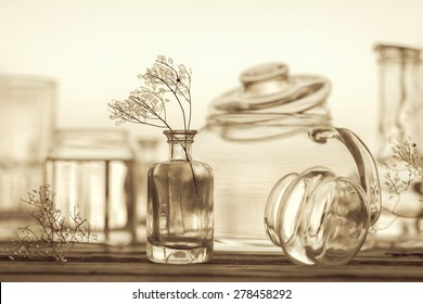 Unique Still Life of Different Glassware - vintage style background