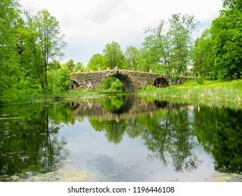 Unique stone bridge architect Lvov. Russia, Tver region, Torzhok, Vasilevo.