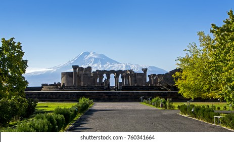 unique stone ruins of the Zvartnots temple, 640th years. AD, with Ararat Mountain on background, Armenia. Ancient architecture