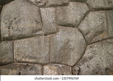 Unique Stonework of the Ancient Inca Walls of Sacsayhuaman Citadel, UNESCO World Heritage Site in Cusco, Peru