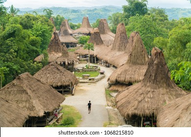 Unique structure of traditional hut at Kampung Adat Praijing, Sumba Indonesia