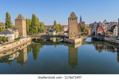 The unique view of the Barrage Vauban in old town of Strasbourg, Alsace (France)