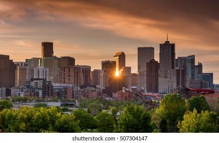Unique view of the Denver Colorado skyline with a sun star reflection