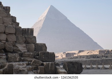 Unique view of Giza Pyramids in egypt