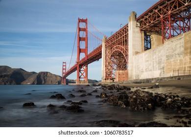 Unique view of Golden Gate Bridge in evening light