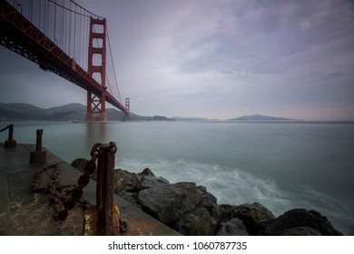 Unique view at Golden Gate Bridge from Fort Point