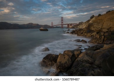 Unique view at Golden Gate Bridge from Marshall's Beach