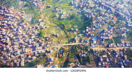 Unique view of houses. Arial View of Kathmandu Nepal