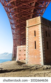 Unique view on Golden Gate bridge and Fort Point from below